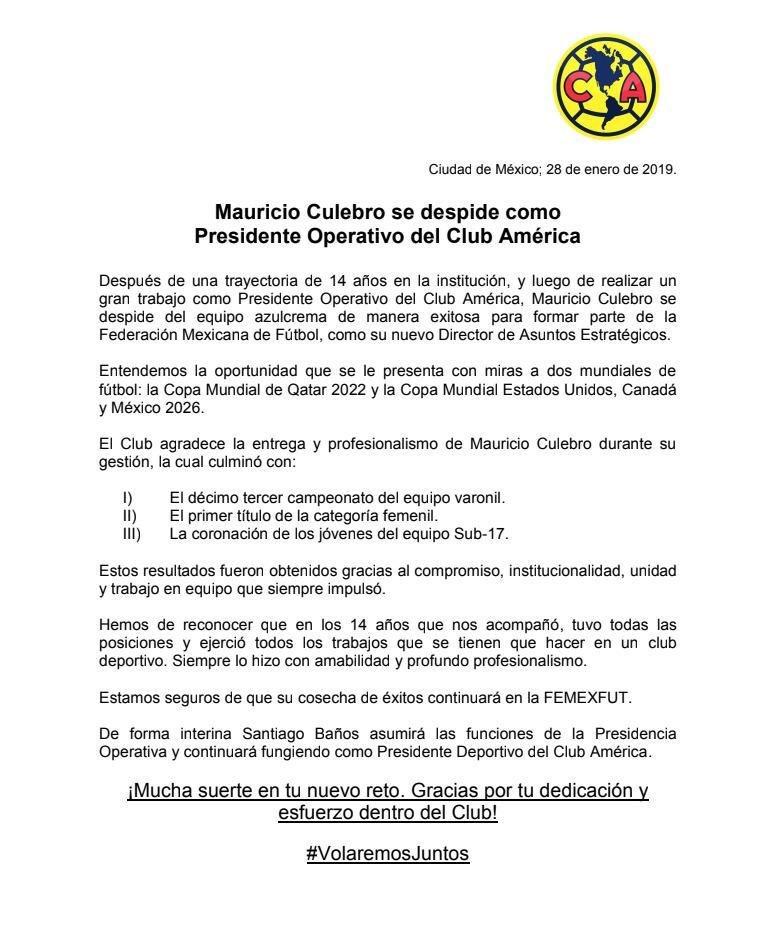 Mauricio Culebro se despide de América